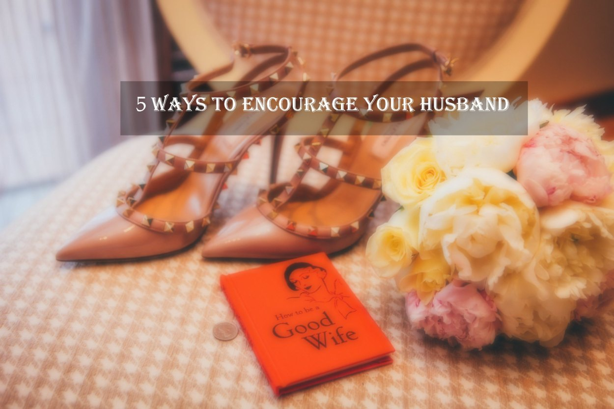 wedding shoes, bouquet and book about being a good wife.